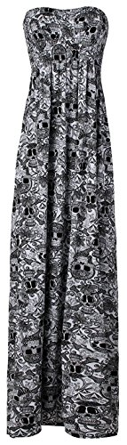 Crazy Girls Womens Bandeau Boobtude Gathered Sheering Strapless Long Maxi Dress (XL-UK16/18, All Ove