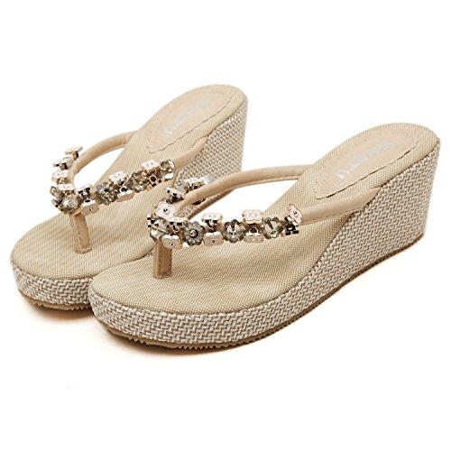 DQQ Metall Perlen Damen Wedge Flip Flop Sandale, Beige - Beige - Größe: 39