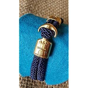 HAMBURGarmband marine blau - vergoldet