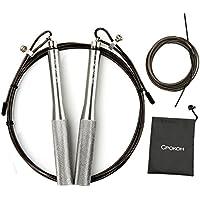 Cpokoh Skipping Rope Fast Speed para Hombres y Mujeres Cable de Acero Recubierto para Entrenamiento Rápido de Cardio y Resistencia (Plata)