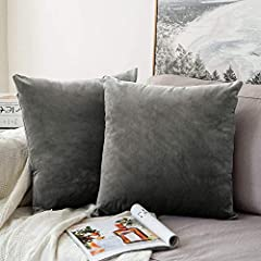 Idea Regalo - MIULEE Confezione da 2 Federe in Velluto Copricuscini Decorativi Fodere Quadrate per Cuscino per Divano Camera da Letto Casa Auto 40X40cm Grigio