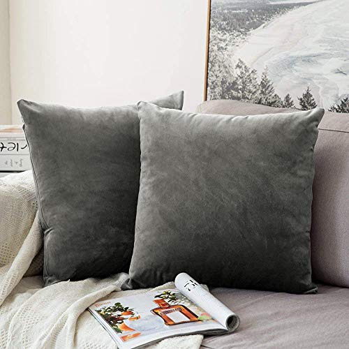 MIULEE Packung von 2, Purer Weicher Dekorativ Sofa Kissenbezug Kissenhülle Set Kissen Fall für Sofa Schlafzimmer Auto Grau 18 x 18 inch 45 x 45 cm