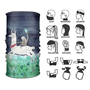 Sturmhauben Headband Watercolor Sloth Riding Llama Outdoor Multifunctional Headwear 16 Ways to Wear Your Magic Headwear Scarf