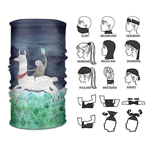Sturmhauben Headband Watercolor Sloth Riding Llama Outdoor Multifunctional Headwear 16 Ways to Wear Your Magic Headwear Scarf | 06468358561330