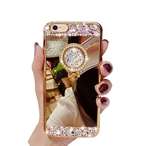 Glitter Étui Housse pour iPhone 5/5S/SE + [Support d'Anneau], Bonice Cristal Clair Miroir Cas Case avec 360 Degrés Rotation Bague, Luxe Bling Sparkle Strass Souple Soft Gel TPU Caoutchouc Bumper Anti- B-Or