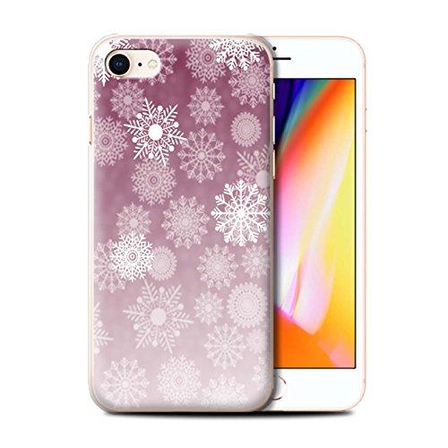 Stuff4 Hülle / Case für Apple iPhone 8 / Rot Muster / Schneeflocke Nebel Kollektion Rot
