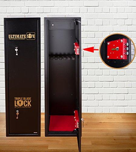 Armoire à Fusils Ultimate Safe® Coffre Fort pour Armes à feu pour 6 Carabines, Armoire Avec Serrure Triple Blade Lock®