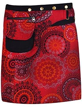 TATTOPANI Falda de algodón de las mujeres Falda de la mandala de la falda del cierre del botón de la impresión...