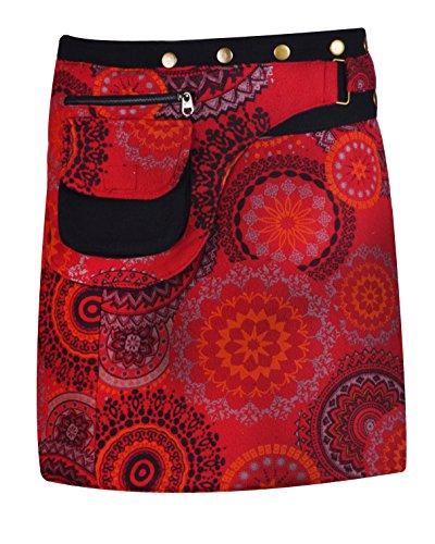 TATTOPANI Falda de algodón de Las Mujeres Falda de la Mandala del Cierre del botón de la impresión de la Falda (LMN6075RED-L/XL)