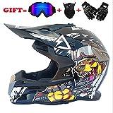 Erwachsene Motorrad-Motocross Motorbike Helme D.O.T Standard Children Quad Bike ATV Go Karting Helm (Handschuhe, Brille, Maske, 4 Set) (S, M, L, XL, XXL),XXL
