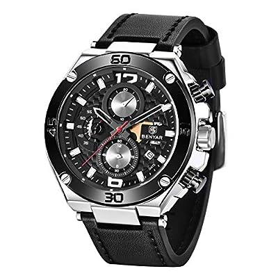 BY BENYAR - Relojes Hombre | Reloj Cronografo Hombre | Correa de Cuero | Movimiento Cuarzo | 30M Resistente al Agua y a los arañazos Cada ocasión