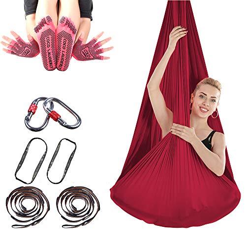 SKFG Professionell Yoga-Hängematte Hochrot Pilates Silks, Pilates Silks Schaukel mit Handschuhe Socken Fitnessband Karabiner, 350 kg Tragfähigkeit Yogatuch 4M Lang 2,8M Breit