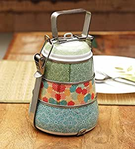 Buy Stainless Steel Multicoloured Vintage Pyramid Tiffin