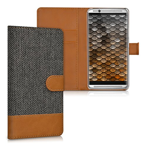 kwmobile Wallet Case Schutzhülle für ZTE Axon 7 - Klapphülle aus Canvas mit Kunstleder für Handy - Hülle mit Kartenfach und Ständer in Anthrazit Braun