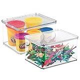 mDesign 2er-Set Spielzeugaufbewahrung – stapelbare Aufbewahrungsbox mit Deckel aus robustem Kunststoff – ideal zum Spielsachen verstauen im Regal oder unter dem Bett – durchsichtig