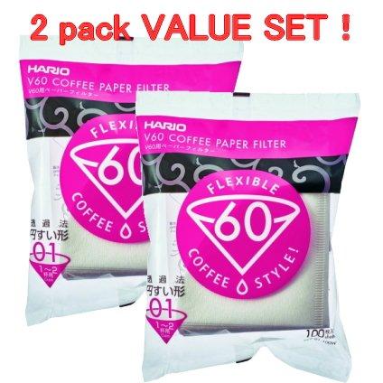 Drip Stand (Hario VCF-01-100W V60 Papierfilter für 01 Kaffee Dripper, weiß x 2Pack (Gesamt 200 Stück) Wert Set)