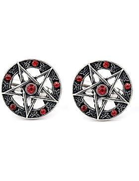 Pentagram Gotisch Gothic Rot Manschettenknöpfe