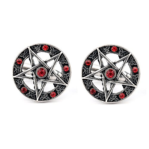 Pentagram Gothic Goth Rosso Cosplay Cufflinks Gemelli