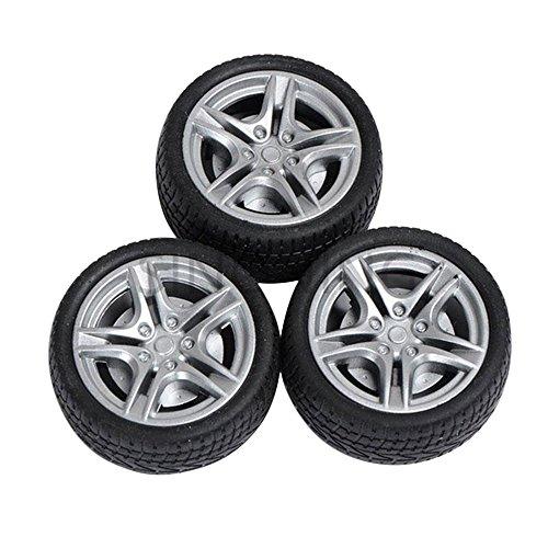 Cido 4 Stück Simulationsreifen 44mm 3mm Achsschenkel-Radnabe Spielzeugmodell Zubehör Schwarze Straßenwagenwagen (Spielzeug Reifen)