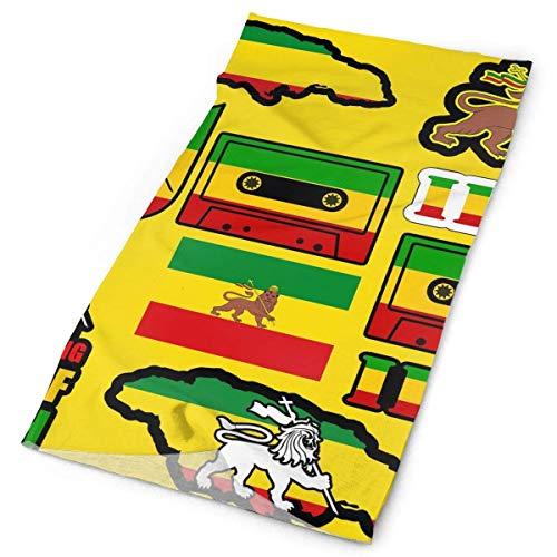 Qinckon Elastisches nahtloses Mehrzweckstirnband für den Außenbereich Rasta Lion Jamaican Reggae Flag Map Magnetband Bandana Headwrap -
