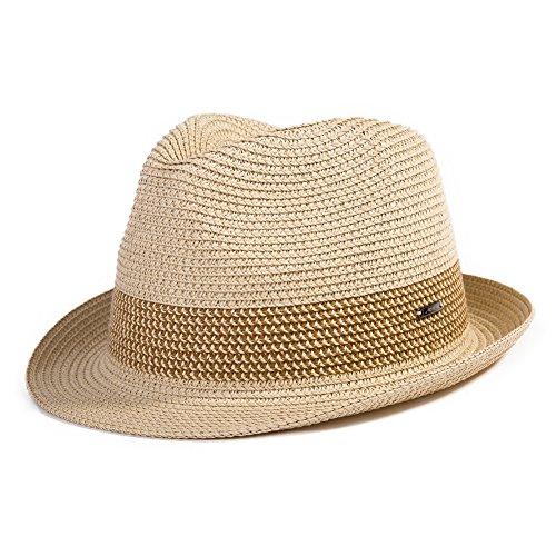 Strohhut Panamahut Sonnenhut Fedora Hut Handgemacht Herren beige L SIGGI