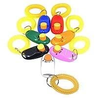 DLAND 7 couleurs Bouton Clicker avec bracelet pour chiens Clicker Training-7 Paquet