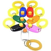 Dland 7 Colores Botón Clicker con la banda de la muñeca para perros Clicker Training-7 Paquete