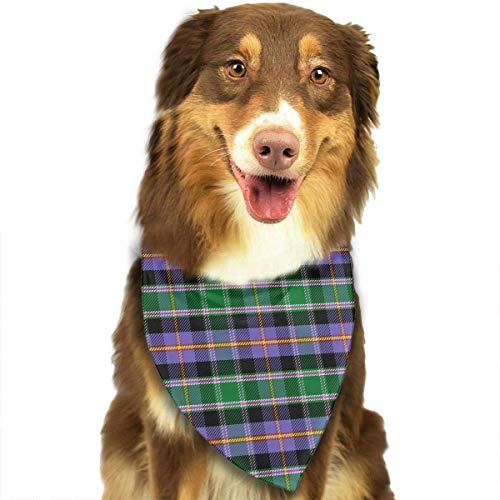 Wfispiy Scottish Tartan Plaid Pattern weicher Baumwolle Klassische Tiere Bandana Haustier Hund Katze Dreieck ()