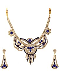 Rosary Gold Plated White And Blue CZ Flower Desing Stone Studded Necklace Set With Earrings Jewellery For Women