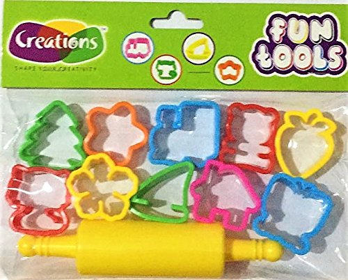 Creations FunTools Moulds For Clay & Dough 11 Pcs, 10 Small Moulds & 1 Roller.