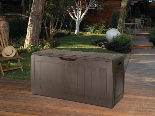 Keter 17191974 Kissenbox Hollywood Box 270L Holzoptik, Kunststoff, braun -