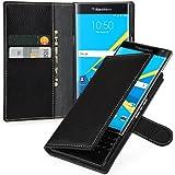Supremery Book Type Case, Hülle aus Leder für BlackBerry Priv Ultra Slim, schwarz