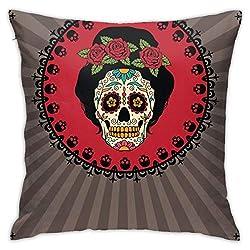 NAA Dekokissenbezug Rahmen Mexican Skull Girl Standard Kissenbezüge Skin Friendly Polyester Kissenbezüge