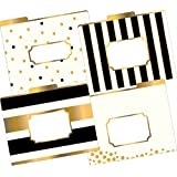 Barker Creek - Office Products 1/3 Cut Tabs Reversible Letter-Size Fashion File Folders, Gold Multi-Design Set, 12-Count (LL-1337)