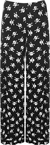 WearAll - Damen Übergröße schädelknochen palazzo weitem bein hose pants pirat - Schwarz - 48 bis 50 (Damen Piraten Hose)