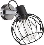 Wandlampe Schwarz Metall offener Gitter Schirm Stäbe Kugel E27 modern Wandleuchte Wohnzimmer Schlafzimmer