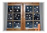 WIEDERVERWENDBARE winterliche Fensterbilder weiß   Sterne in 3 Größen   Weihnachten   Fensterdeko   konturgetanzt ohne transparenten Hintergrund (Sterne)