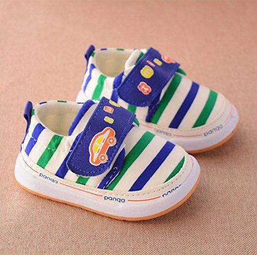 Infant Baby Girls Stripe Crib Schuhe Soft Sole Anti-Rutsch Sneakers Geeignet für 0 bis 3 Jahre alt kingko Blau