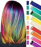 RYE Arc-en-Ciel Cheveux Multicolores Clip dans Les Extensions de Cheveux pour Filles Perruques de Cheveux Perruque 9 PCS