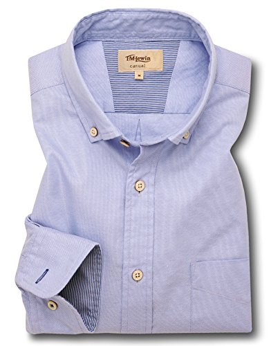 tmlewin-mens-blue-royal-oxford-button-down-casual-shirt-medium
