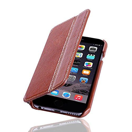 LAVADIA Design Lederklapphülle Case Tasche Arizona für Apple iPhone 6/6S braun aus echtem Leder mit Visitenkarten- und Geldfach. Dünne Ledertasche Hülle zum aufklappen als edles Zubehör