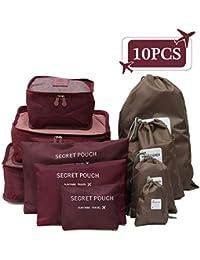 King Do Way - Set de viaje/Organizador de maletas - Incluye: 3organizadores para maletas + 3bolsas con cierre de cremallera + 4bolsas con cordón, Rosso di vino