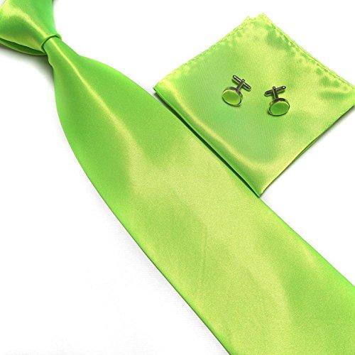 cravate-pochette-bouton-de-manchettes-satinee-vert-fluo-neuf