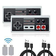 Wireless NES Mini Classic wiederaufladbarer Controller, NES Wireless Gamepad für Nintendo Mini NES Classic Edition, Wireless Joypad & Gamepads Controller (2-Pack)