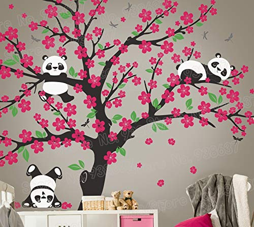Wandaufkleber,Wandtattoo,Aufkleber,Panda Bär Kirschblüte Baum Wand Aufkleber für Kinderzimmer Vinyl selbstklebende Wand Aufkleber Blume Baum Home Decor Schlafzimmer (Kirschblüten-baum-wand-aufkleber)