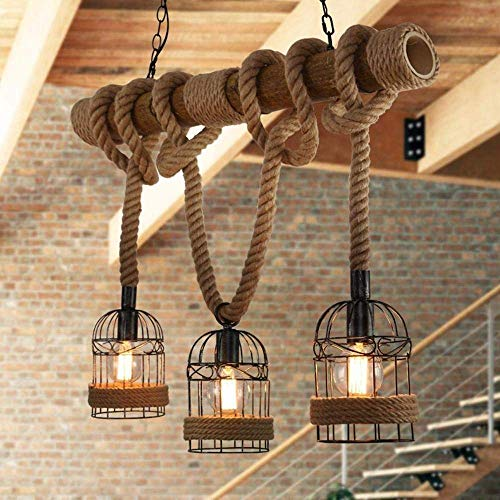 Pumpink Vintage Seil Pendelleuchte Licht Industrie E27 Sockel mit Käfig Rahmen Dekoration aus Holz für Home Interior Lounge Bar Restaurants Coffee Shop Club Dekoration Kronleuchter (Home Interior Rahmen, Dekorationen)
