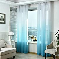 Ouneed 1Pc 100Wx270Lcm Moda gradiente pura puerta de tul cortina de ventana tratamiento voile drapeado bufanda cenefas (Azul)