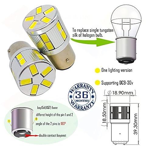 Wiseshine ampoule bay15d 1157 chaud canbus led bulbe DC9-30v 3 ans d'assurance qualité (pack de 2) (bay15d 17smd 5630 jaune)