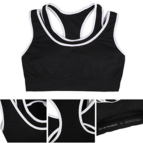 APIKA Soutien-Gorge De Sport Seamless Padding Sans Fil Fitness Pilates Yoga Noir