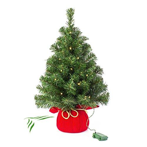 Artplants Varsavia, mini albero di Natale da 60 cm con LED incorporati